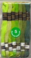 Набор мулине Цветик-семицветик 7шт, Зеленая гамма