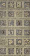 Ткань для пэчворка с золотым тиснением, панель, 60х110см, серия 4595
