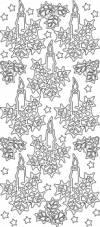Контурные наклейки Рождественские свечи, цвет Серебро