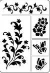 Трафарет самоклеющийся А5, Цветы и бабочки