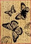 Бумага рисовая Stamperia А4 Бабочки на старинном письме