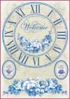 Бумага рисовая Stamperia А4 Синие часы