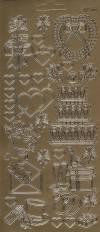 Контурные наклейки Свадьба 2, цвет Золото