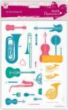 Набор прозрачных штампов, 10,5х14,8см, Музыкальные инструменты