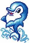 Рисунок на канве 16х20см Дельфинчик