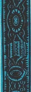 Лента атласная 12 мм, Узор черно-голубой