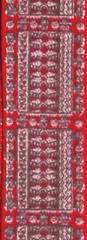 Лента атласная 12 мм, Орнамент красно-серый