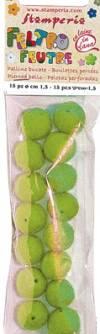 Бусины из войлока, 1 см, 15шт., цвет Светло-зеленый