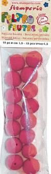 Бусины из войлока, 1 см, 15шт., цвет Розовый