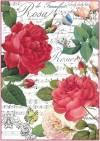 Бумага рисовая Stamperia А4 Красные розы и музыка