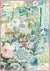 Бумага рисовая Stamperia А4 Букет голубых цветов