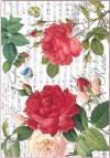 Бумага рисовая Stamperia Красные розы и ноты