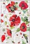Бумага рисовая Stamperia Ботаника, маки