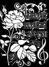 Трафарет 20х25м, Роза и ноты