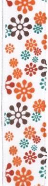 Лента атласная 12 мм, 3 м, Цветы на белом