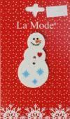 Пуговицы La Mode Christmas, 1 шт., 32 мм, 2 отв., Снеговик