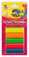 Пластилин флуоресцентный, 65г, 5цв.