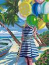Набор для раскрашивания по номерам, 40х30см, Девушка с шариками