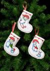 Набор для вышивания сапожка для подарков Рождественские носки, 3 шт.,11х12 см.