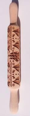 Деревянная скалка с рисунком, 35см, Кораблики