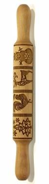 Деревянная скалка с рисунком, 35см, Пряничная с петухами