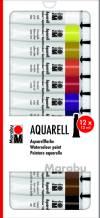 Набор акварельных красок Marabu-Aquarell, 12 цветов по 12 мл