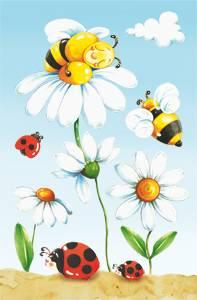 Открытка для объемных композиций Пчелки