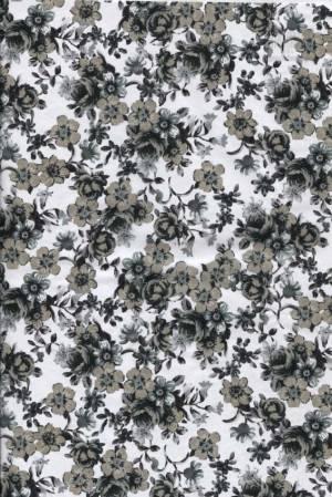 Бумага DECOPATCH Цветочки черно-белые