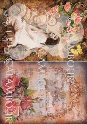 Рисовая бумага Calambour DGR Девушка и розы