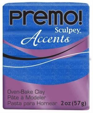 Пластик Premo, 57гр, цвет Синий с блестками