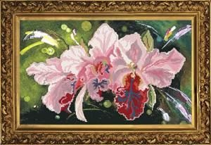 Набор для частичной вышивки бисером 27х45см Орхидеи