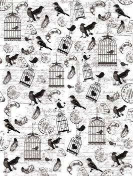 Калька с принтом Птички и клетки, А4