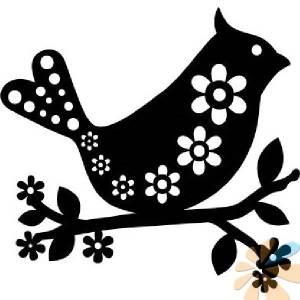 Трафарет-силуэт Marabu 15х15см, Птица с цветочками