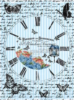 Бумага рисовая Craft Premier Часы с бабочками
