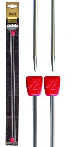 Спицы прямые, никелированный алюминий, №2, 35 см, 2 шт