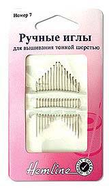 Иглы ручные для вышивания с острым кончиком, №7, 16 шт