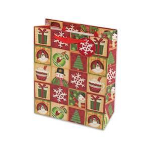 Пакет бумажный новогодний, размер 18х23х10 см