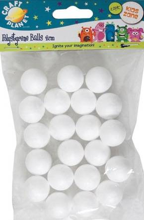 Набор шаров из пенопласта, диам.2 см, 20шт.