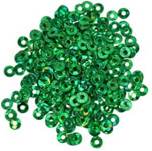 Пайетки плоские, 3мм, 10г, цвет Зеленый голографический