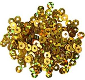 Пайетки плоские, 3мм, 10г, цвет Золото голографический
