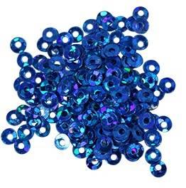 Пайетки плоские, 3мм, 10г, цвет Синий голографический