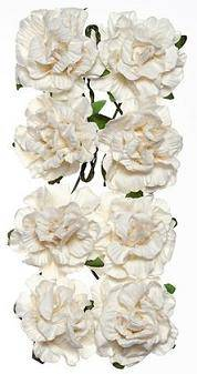 Цветы бумажные  Гвоздики, 8шт, цвет Белый