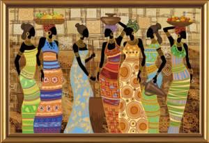 Набор для вышивания бисером 76х50см Африканские красавицы