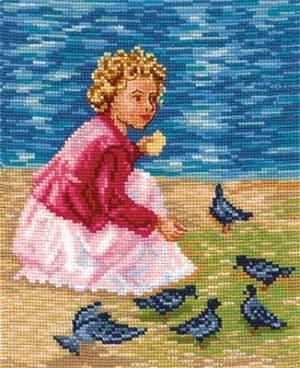 Набор для вышивания 18х21см Мои голубки