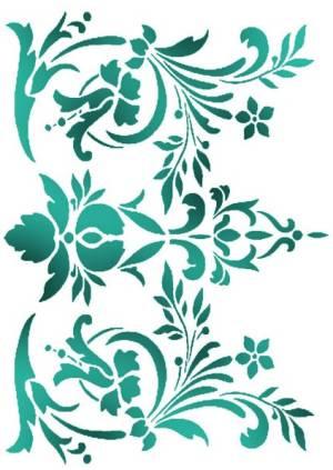 Трафарет 21х29,7см, Цветы и листья