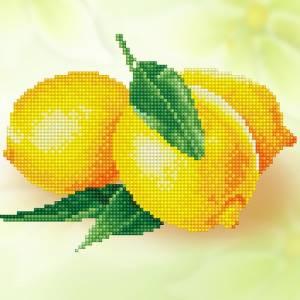 Кристальная мозаика (алмазная вышивка), 25х25см, Лимоны