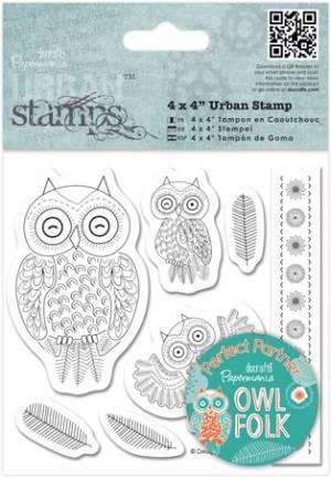 Набор штампов 10,16х10,16см,Owl Folk, Совы