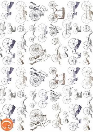 Декупажная рисовая карта А5, Все началось с велосипеда