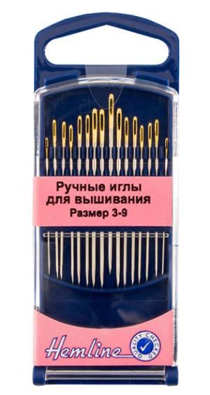 Иглы для вышивания с острым кончиком №3-9, 16шт