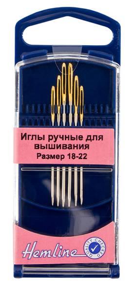Иглы для вышивания с закруглённым кончиком №18-22, 6шт